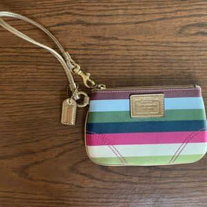 Striped Coach wristlet, New without Tags